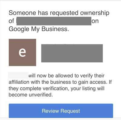 Google My Business Phishing Attempt